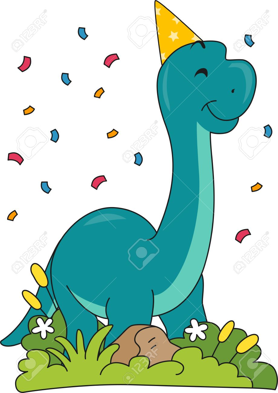 hight resolution of illustration featuring a brontosaurus wearing a birthday hat stock vector 32405853
