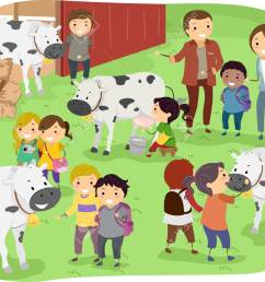 illustration of kids checking out cows during a field trip in a dairy farm stock vector [ 1300 x 1035 Pixel ]