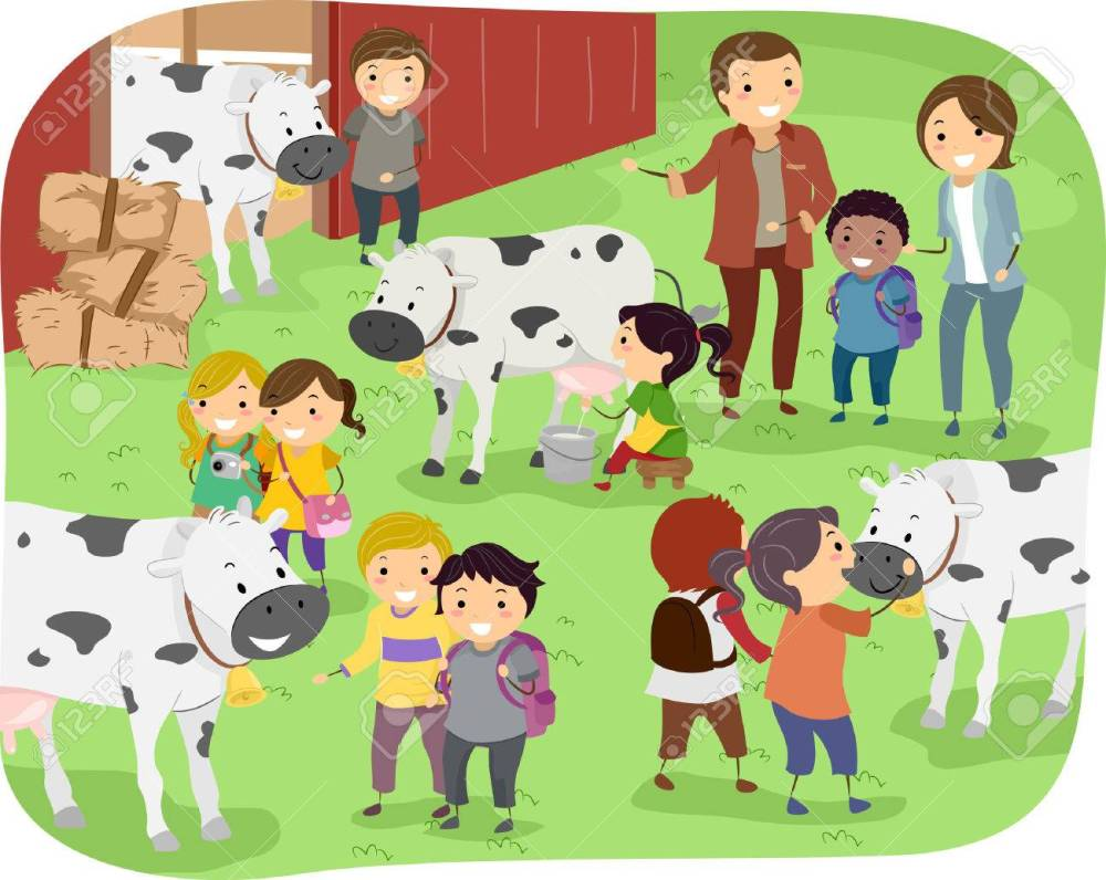 medium resolution of illustration of kids checking out cows during a field trip in a dairy farm stock vector