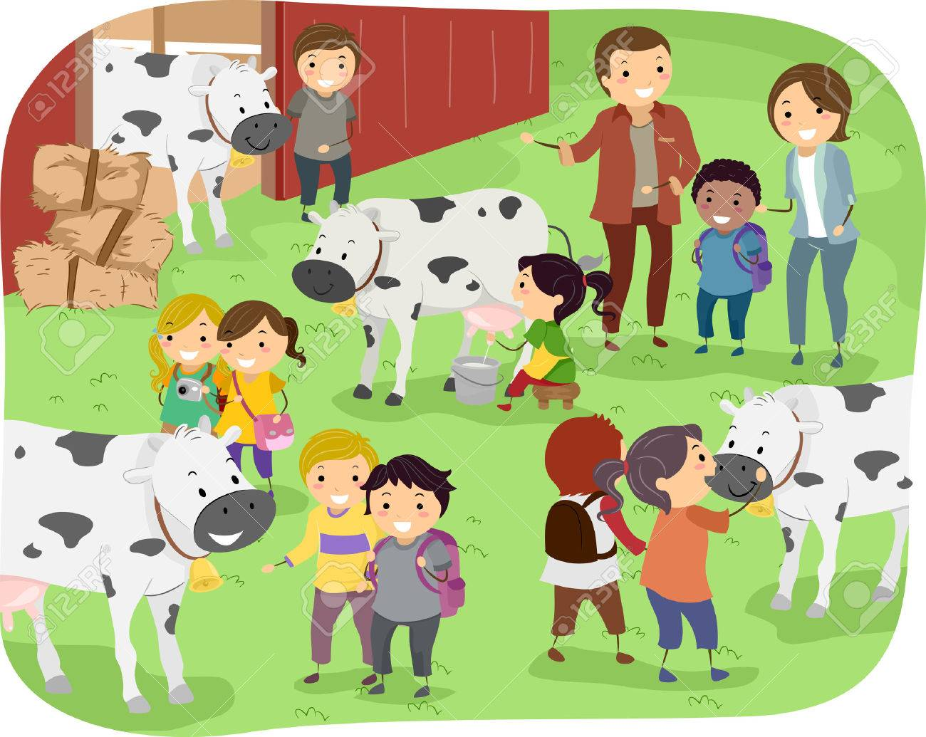 hight resolution of illustration of kids checking out cows during a field trip in a dairy farm stock vector