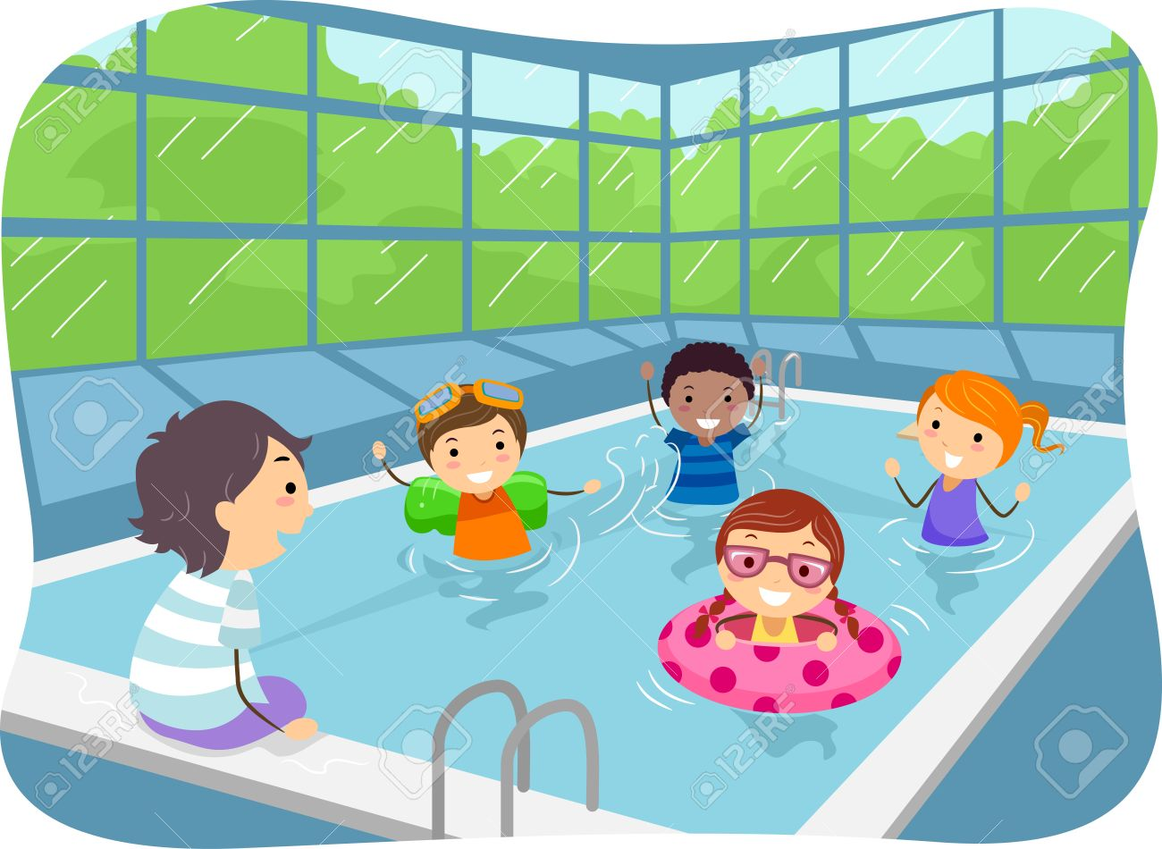 hight resolution of illustration of kids swimming in an indoor swimming pool stock vector 35170108