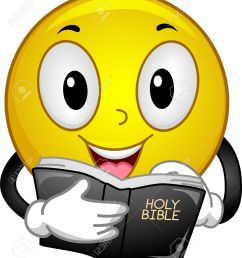 illustration mascot illustration of a happy yellow smiley reading passages from the holy bible [ 1127 x 1300 Pixel ]
