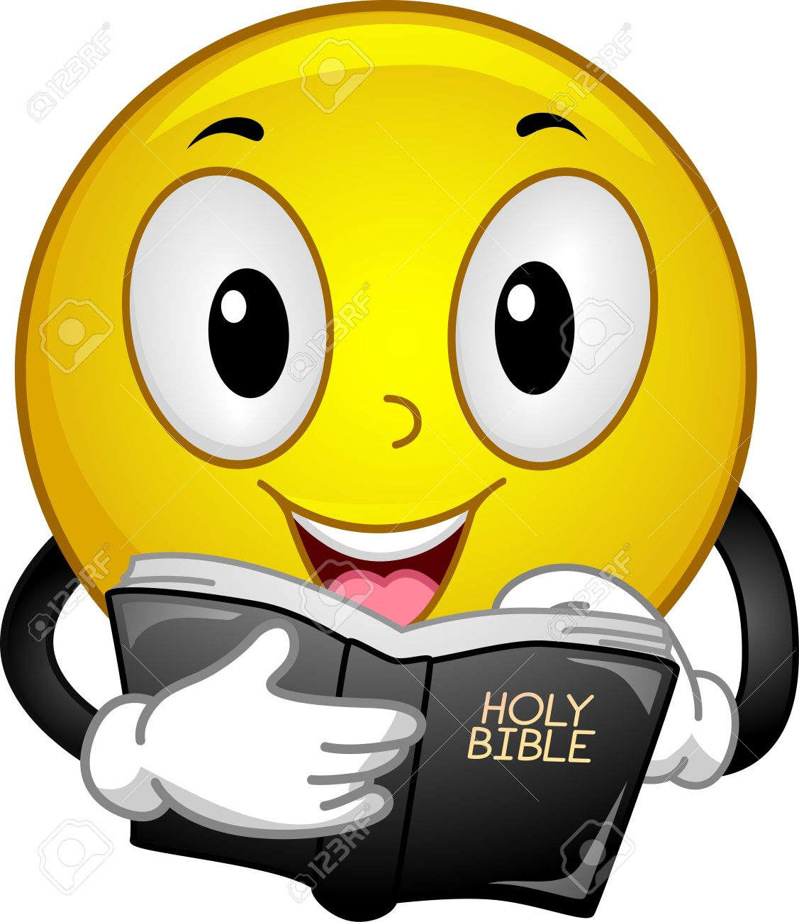 hight resolution of illustration mascot illustration of a happy yellow smiley reading passages from the holy bible