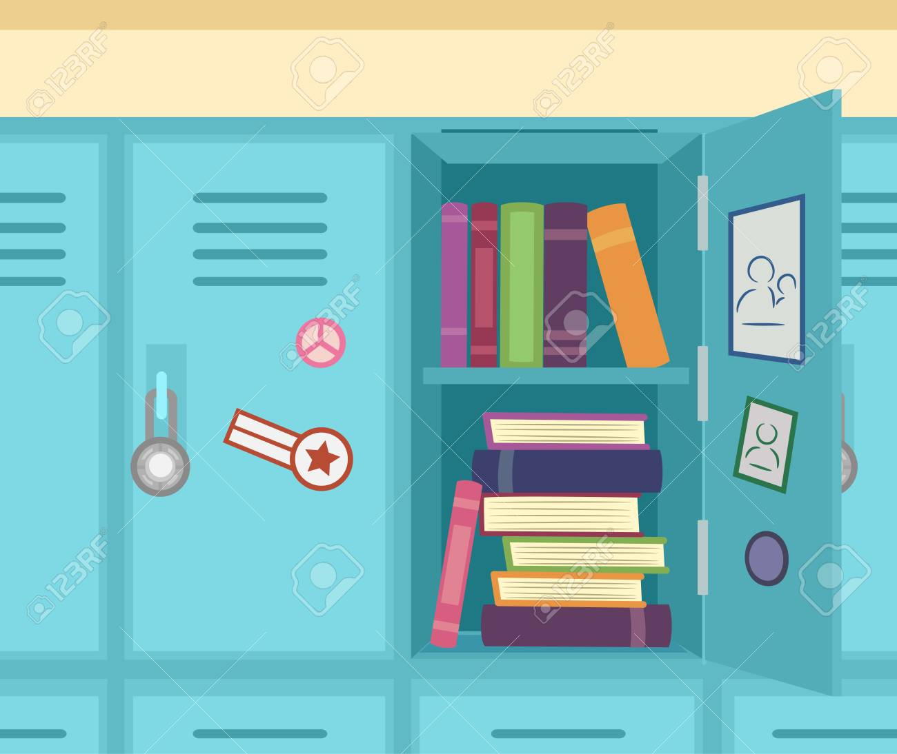 hight resolution of colorful illustration featuring an open school locker showing stacks of books stock illustration 83242354