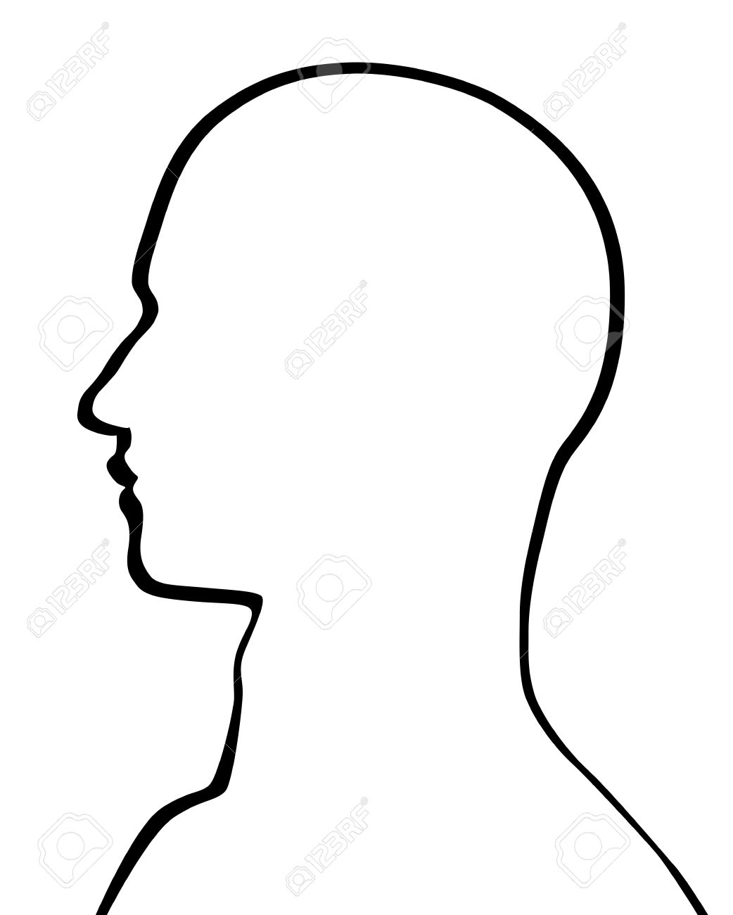 Head Outline Drawing : outline, drawing, Human, Royalty, Cliparts,, Vectors,, Stock, Illustration., Image, 17477123.