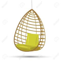 Hanging Chair Swing Ergonomic Chennai Wicker On A Chain With Green Cushions Vector