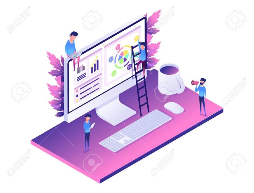 medium resolution of modern web concept flat isometric design of data analysis computer diagram people helping