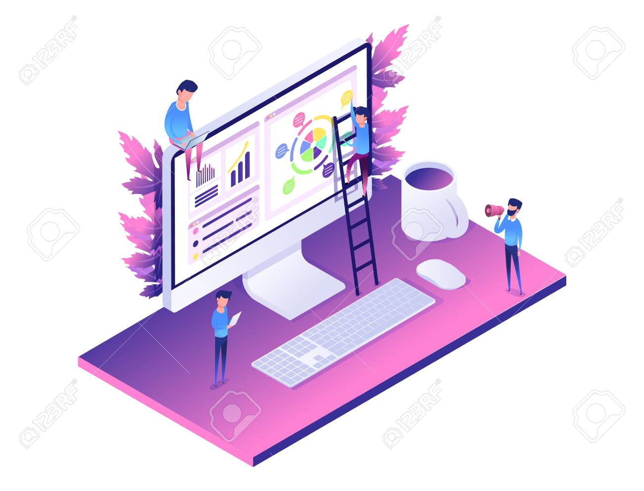 hight resolution of modern web concept flat isometric design of data analysis computer diagram people helping