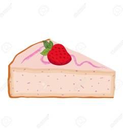slice of cake with strawberry cheesecake with berries flat style stock vector  [ 1300 x 1300 Pixel ]