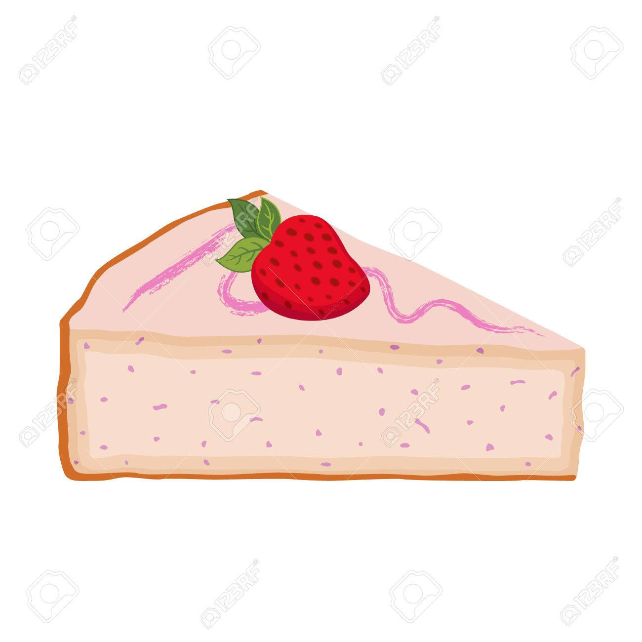 hight resolution of slice of cake with strawberry cheesecake with berries flat style stock vector
