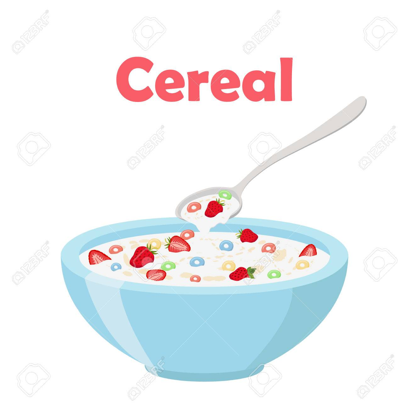 hight resolution of cereal rings strawberry spoon and bowl oatmeal breakfast with milk organic muesli