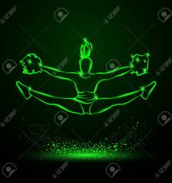 cheerleader jumps and doing splits with pom poms green neon cheerleading illustration for sporting poster [ 1300 x 1300 Pixel ]