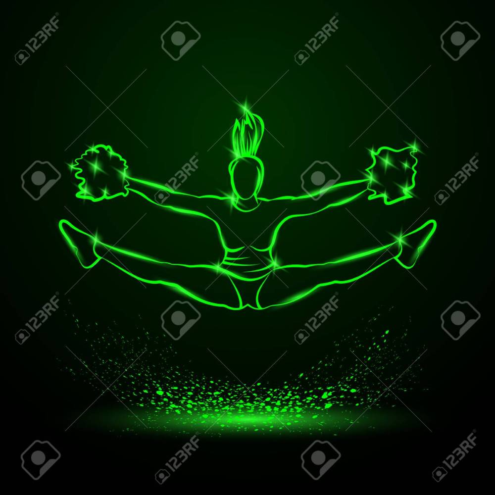 medium resolution of cheerleader jumps and doing splits with pom poms green neon cheerleading illustration for sporting poster