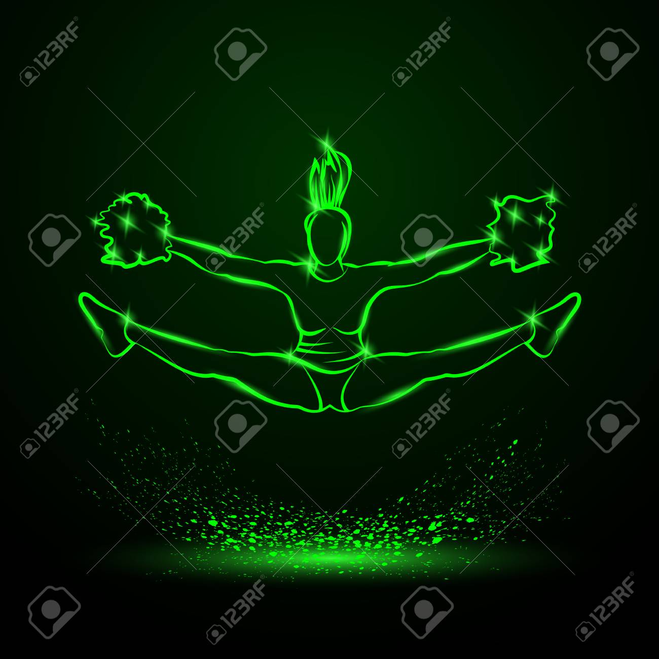hight resolution of cheerleader jumps and doing splits with pom poms green neon cheerleading illustration for sporting poster
