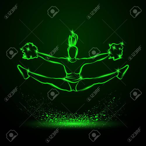small resolution of cheerleader jumps and doing splits with pom poms green neon cheerleading illustration for sporting poster