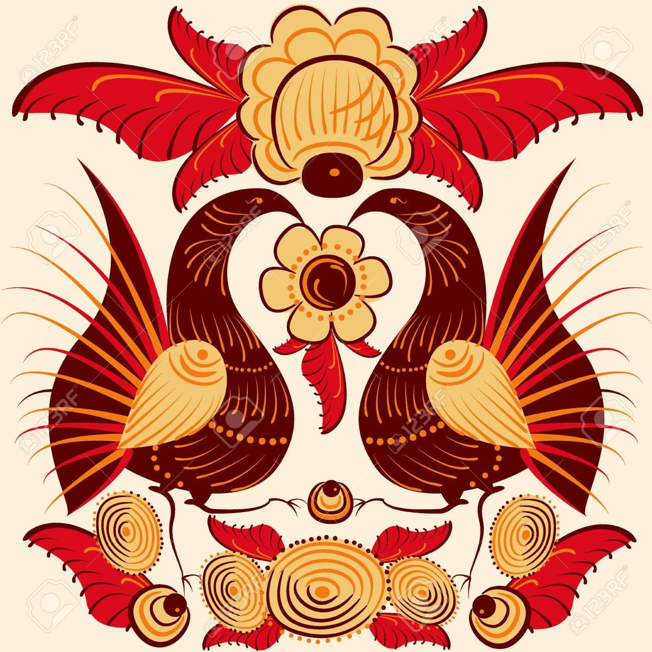 colorful bird cockerel russian
