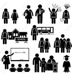 student teacher headmaster school children stick figure pictogram icon clipart stock vector 26999416 [ 1300 x 1300 Pixel ]