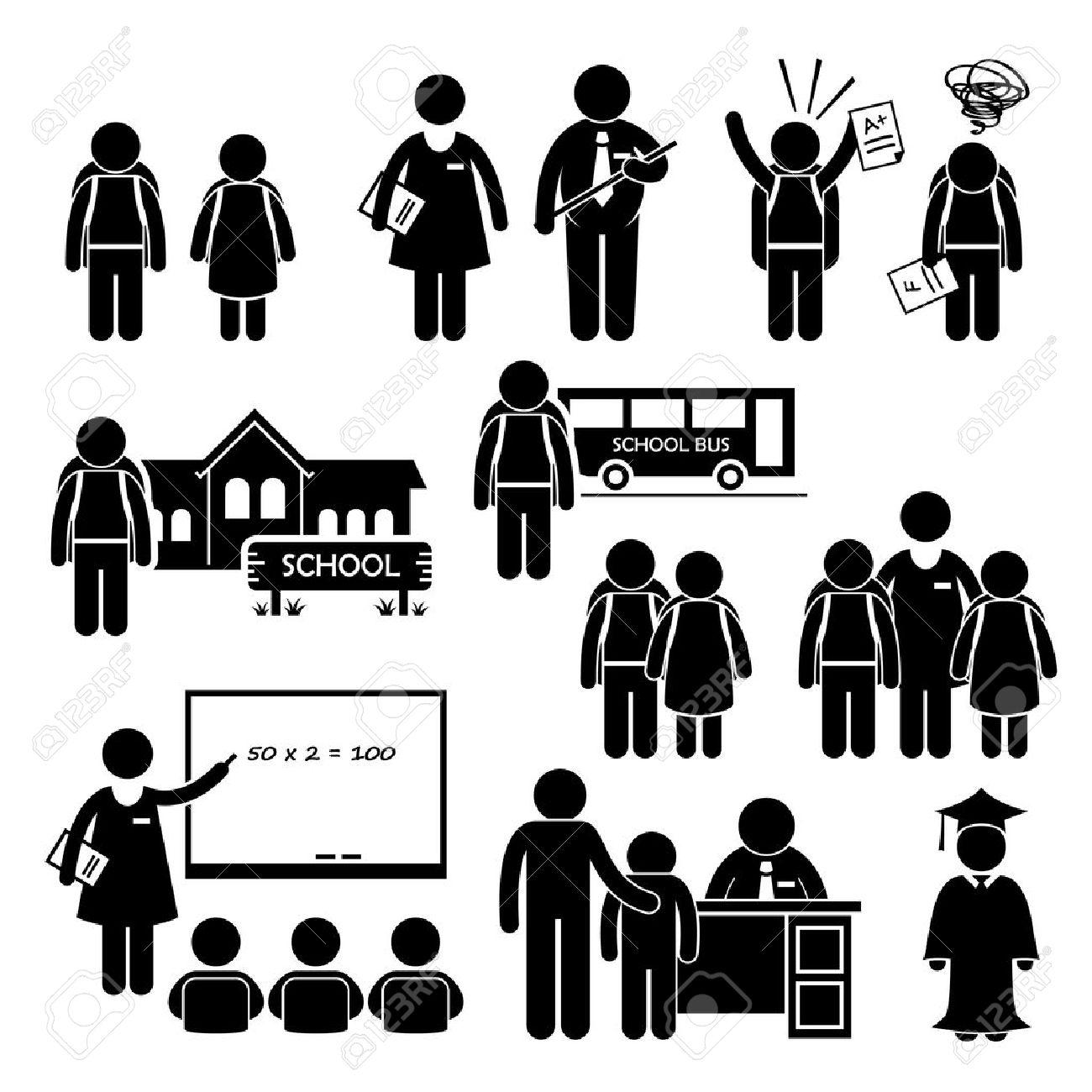 hight resolution of student teacher headmaster school children stick figure pictogram icon clipart stock vector 26999416