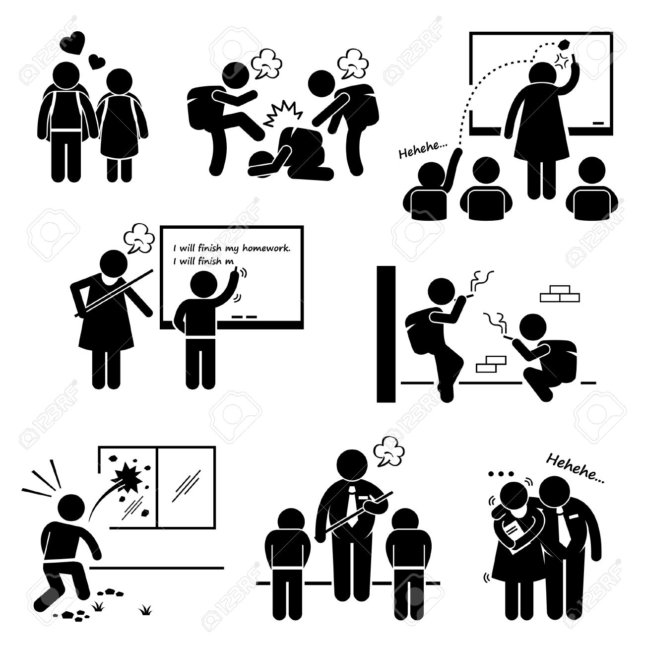 hight resolution of school education social problem student teacher stick figure pictogram icon clipart stock vector 26999415