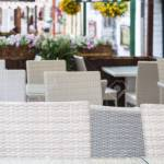 Blurred Background Of Outdoor Modern Cafe Terrace Stock Photo Picture And Royalty Free Image Image 41447414