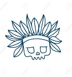 skull line icon with indian headdress with feathers temporary tatoo design halloween character  [ 1300 x 1300 Pixel ]