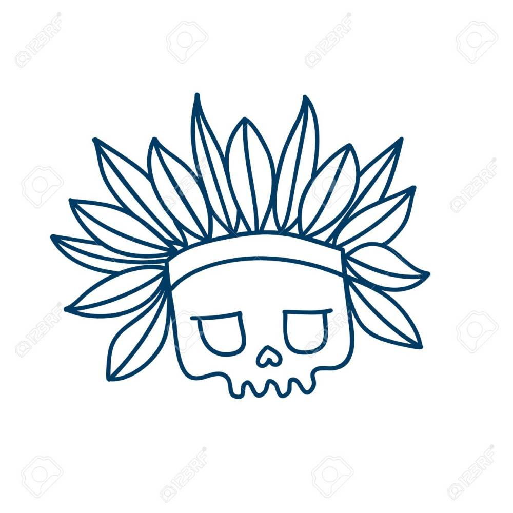 medium resolution of skull line icon with indian headdress with feathers temporary tatoo design halloween character