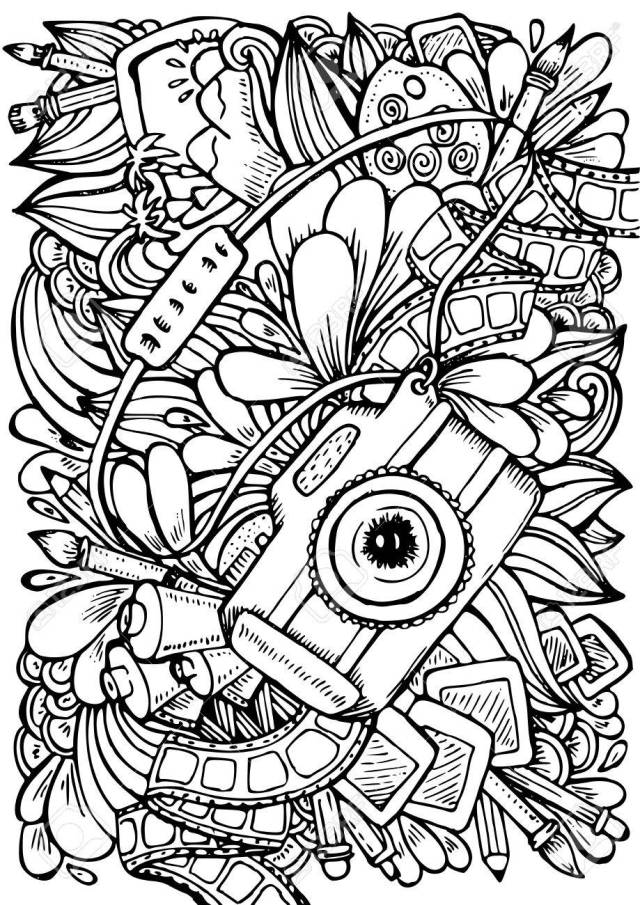 Hand Drawn Pattern. Anti Stress Coloring Book Page For Adult