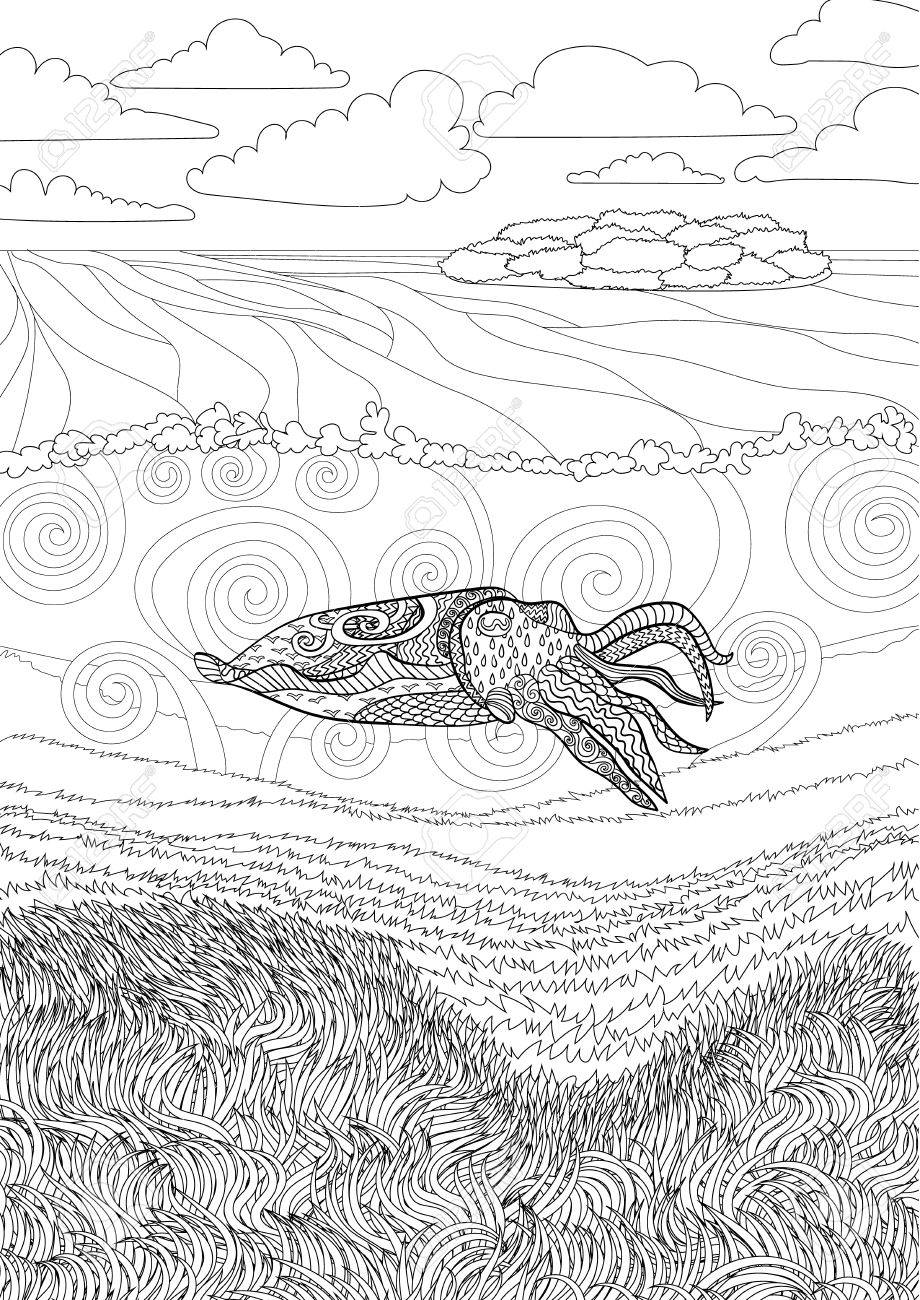 Cuttlefish With High Details Adult Antistress Coloring Page