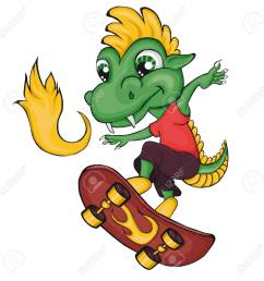 dragon skater cartoon style clip art for children stock vector 80786424 [ 1300 x 1300 Pixel ]