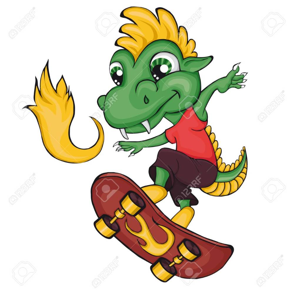 medium resolution of dragon skater cartoon style clip art for children stock vector 80786424