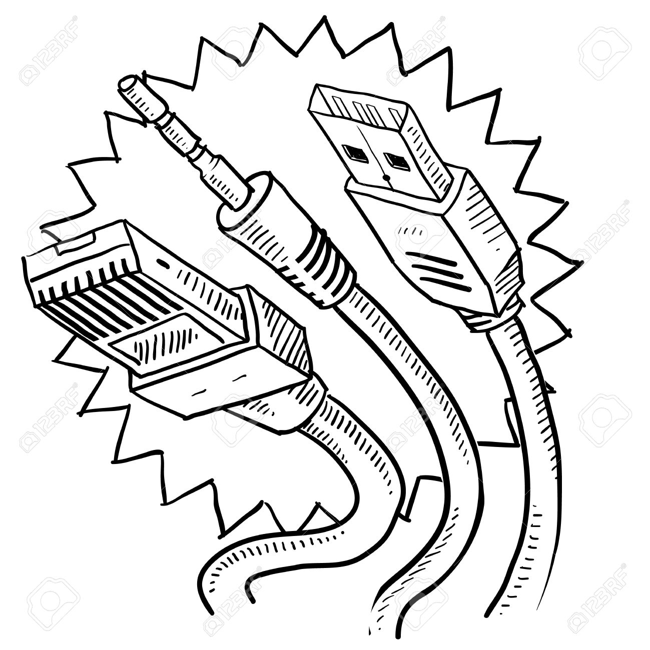 hight resolution of doodle style computer cables sketch in vector format includes auxiliary jack usb and ethernet
