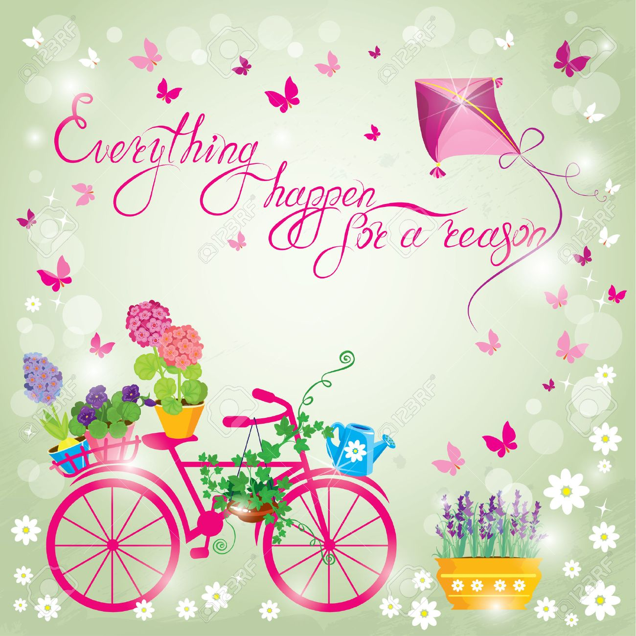 image with flowers in pots and bicycle on sky blue background
