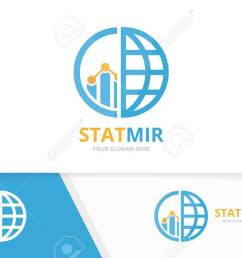 vector vector graph and planet logo combination diagram and world symbol or icon unique chart and globe logotype design template  [ 1300 x 865 Pixel ]