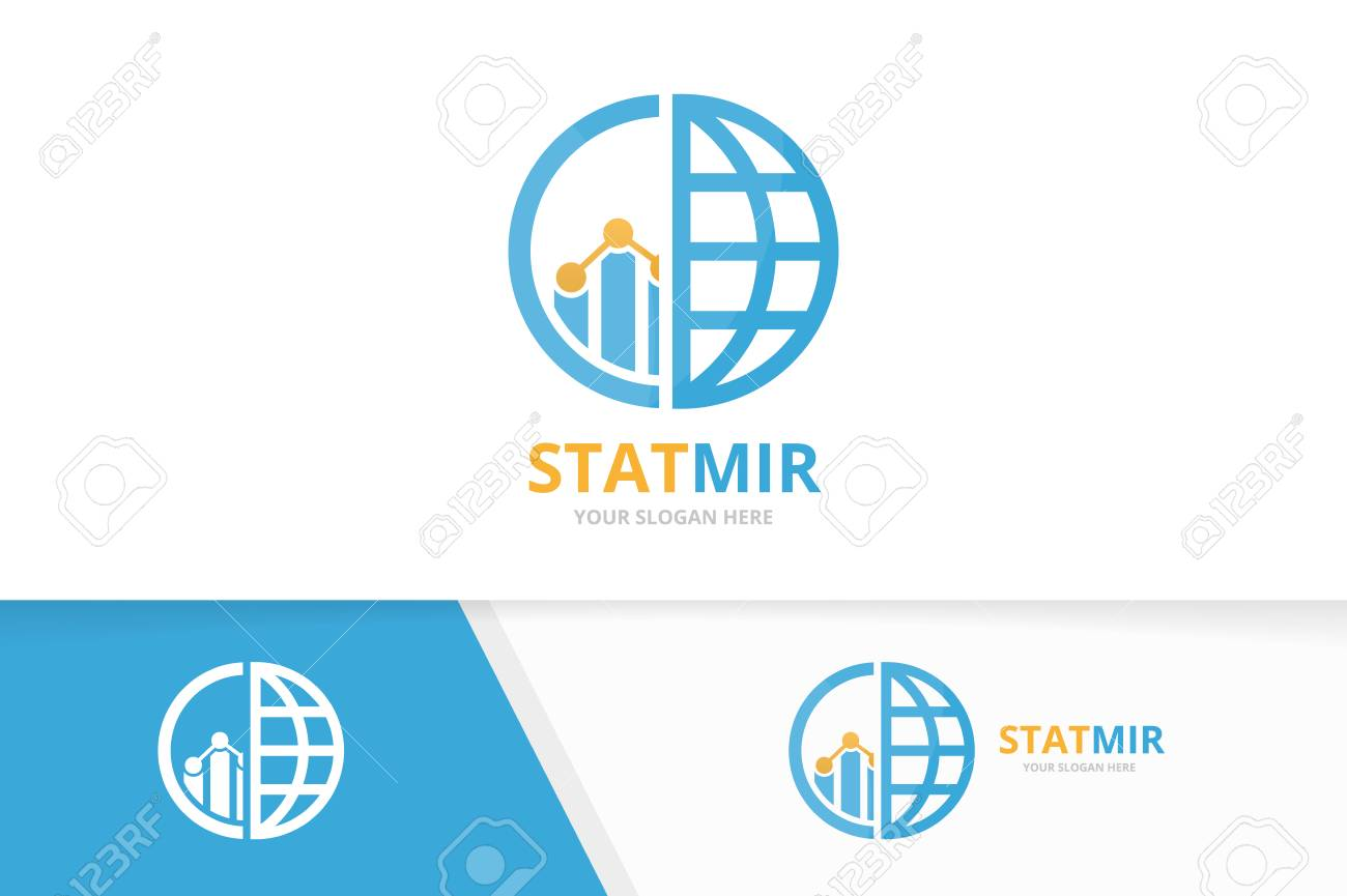 hight resolution of vector vector graph and planet logo combination diagram and world symbol or icon unique chart and globe logotype design template