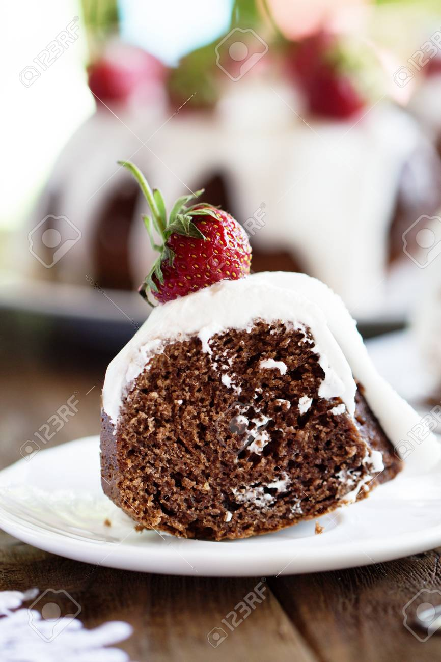 Homemade Chocolate Cake Decorated With Strawberries Brownie