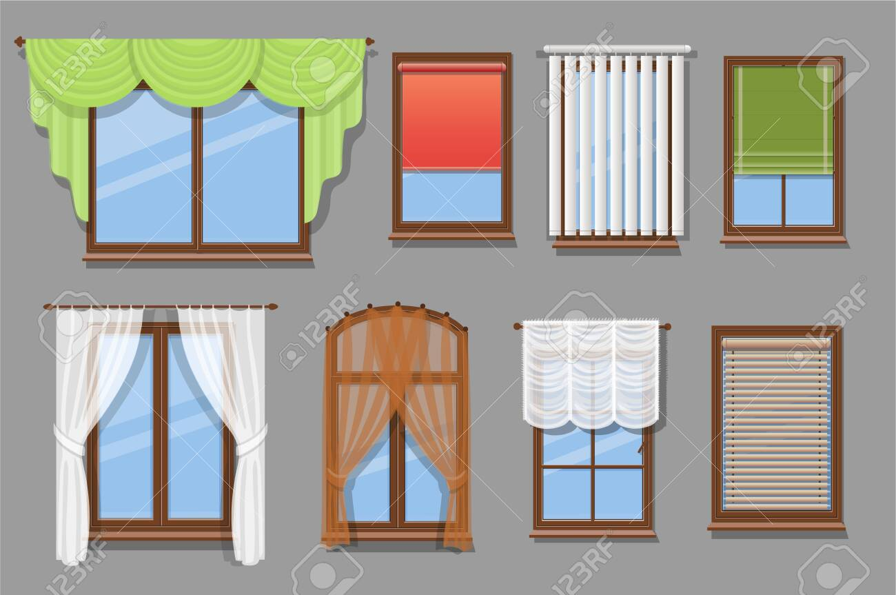 illustration of various window treatments and types of windows