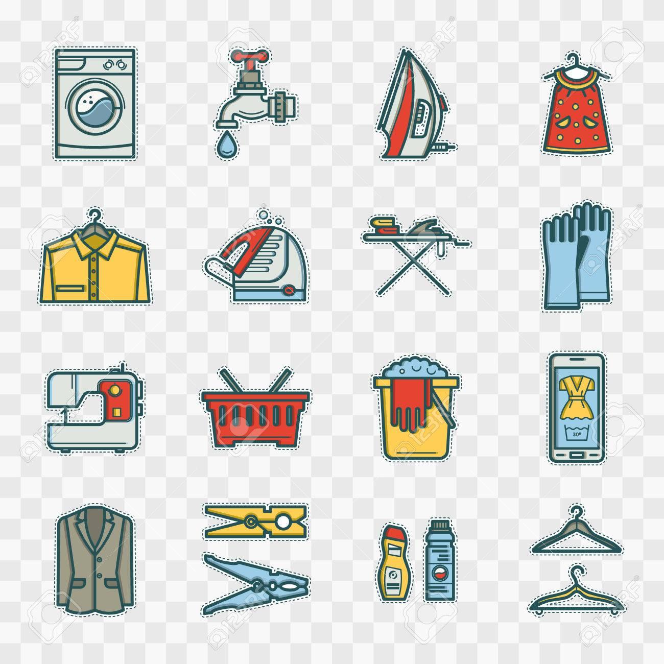 stickers buanderie situe dans un style lineaire machine a laver panier linge fer a repasser concept de nettoyage le nettoyage a sec