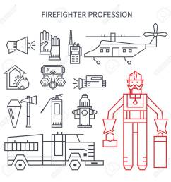 set of linear icons fire truck hose helmet helicopter  [ 1300 x 1300 Pixel ]