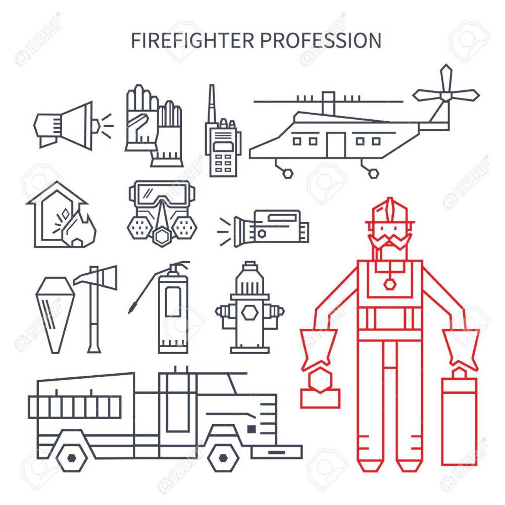 medium resolution of set of linear icons fire truck hose helmet helicopter
