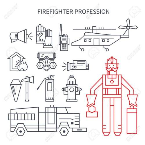 small resolution of set of linear icons fire truck hose helmet helicopter