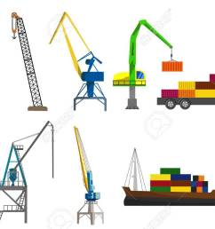 lifting loading harbor cranes truck and container ship set flat vector illustration stock vector [ 1300 x 866 Pixel ]