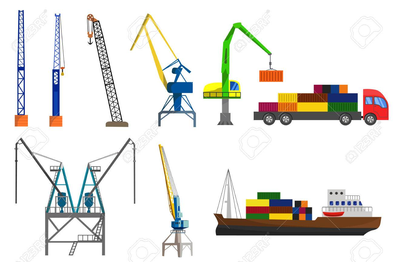 hight resolution of lifting loading harbor cranes truck and container ship set flat vector illustration stock vector