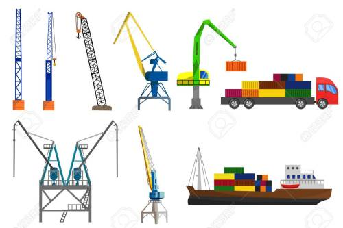 small resolution of lifting loading harbor cranes truck and container ship set flat vector illustration stock vector