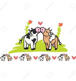 cute cow love cartoon vector illustration motif set hand drawn isolated farm animal valentines elements [ 1300 x 1300 Pixel ]