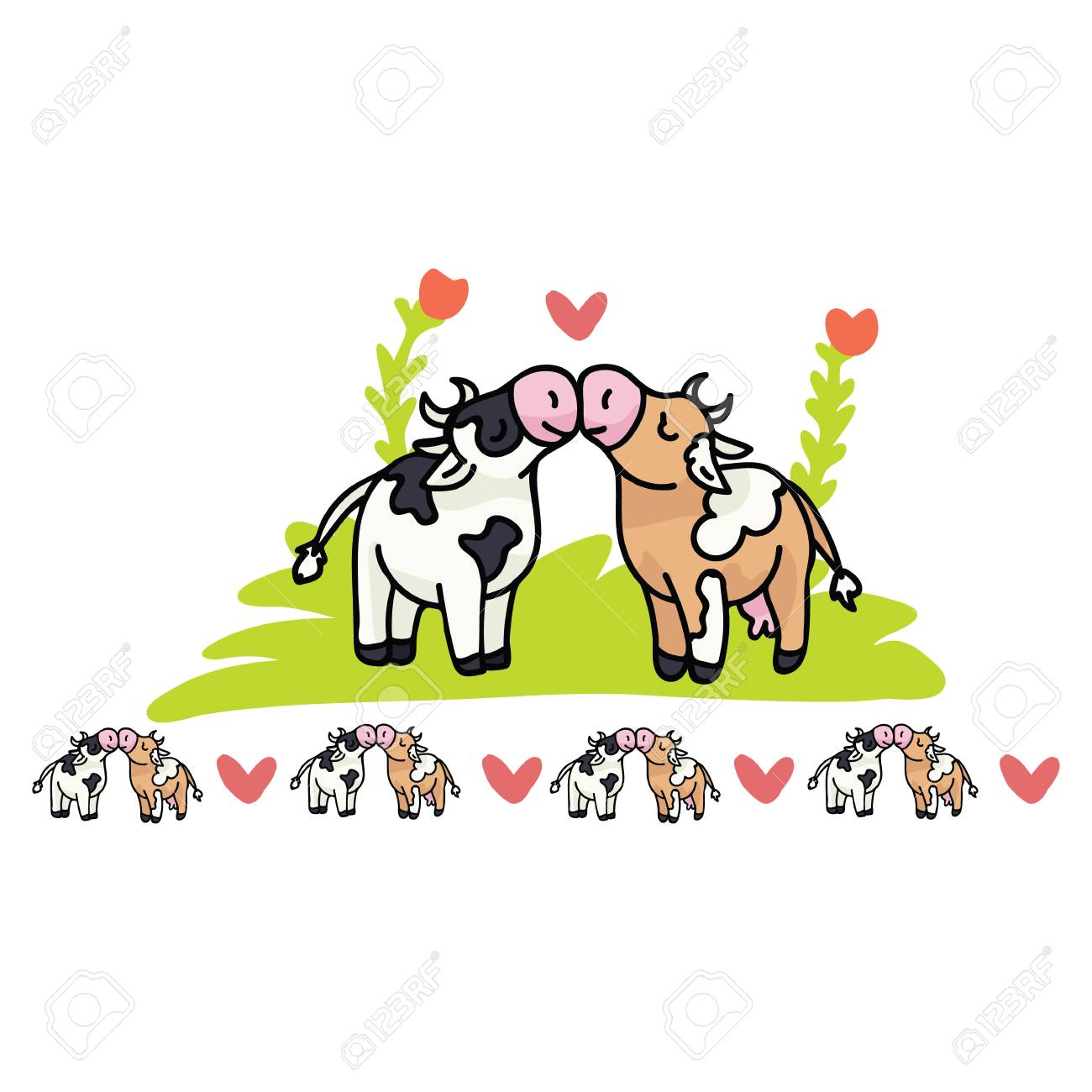 hight resolution of cute cow love cartoon vector illustration motif set hand drawn isolated farm animal valentines elements
