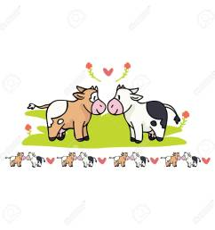 kawaii cow love cartoon vector illustration motif set hand drawn isolated cute farm animal valentines [ 1300 x 1300 Pixel ]