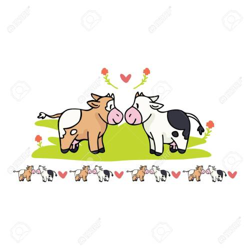 small resolution of kawaii cow love cartoon vector illustration motif set hand drawn isolated cute farm animal valentines