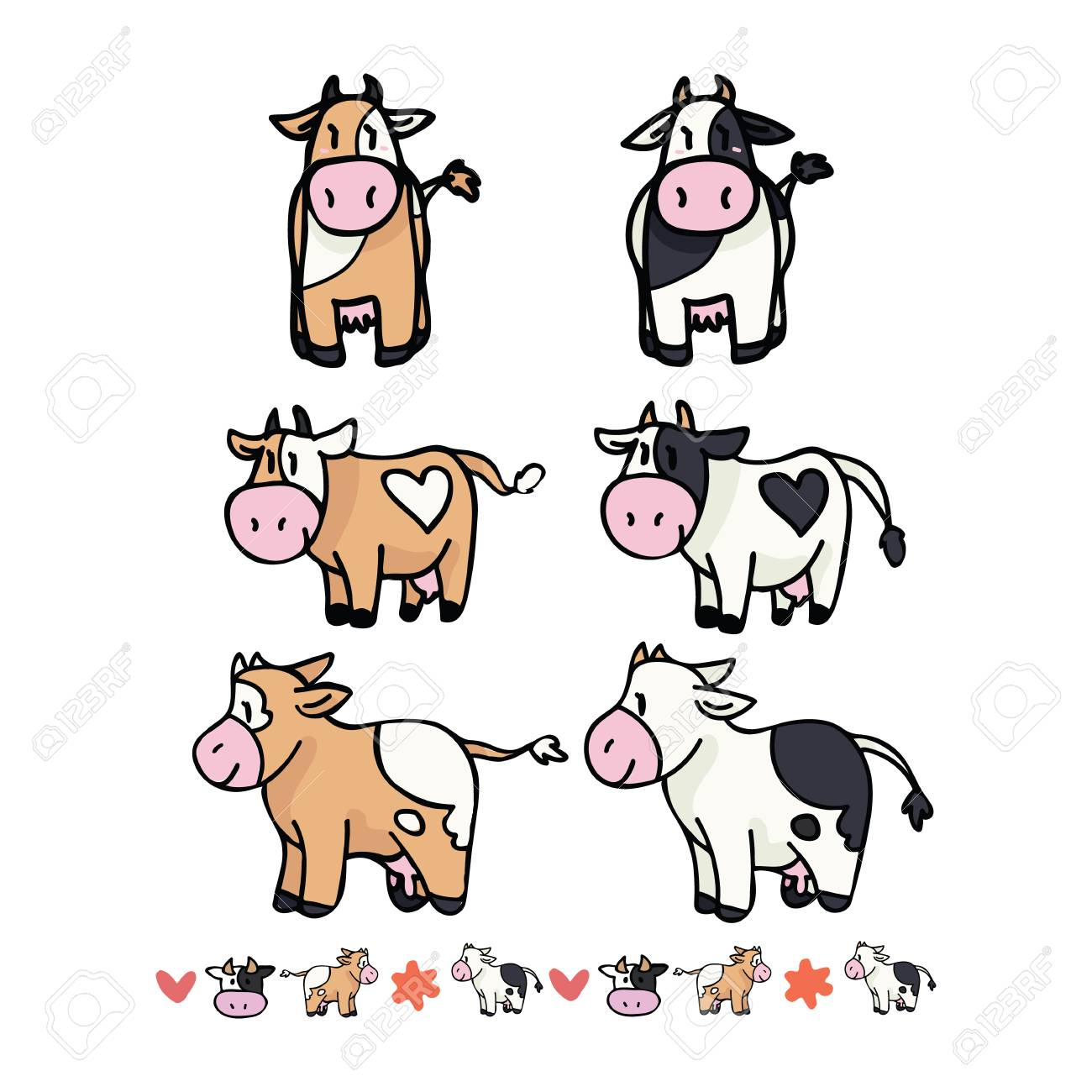 hight resolution of cute cow collection cartoon vector illustration motif set with border hand drawn isolated farm animal