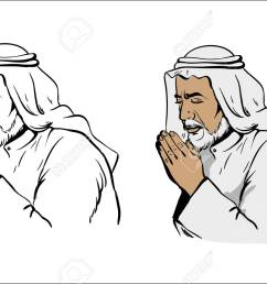 muslim old wise man praying hand drawn vector illustration in black and white variation and colored [ 1300 x 866 Pixel ]