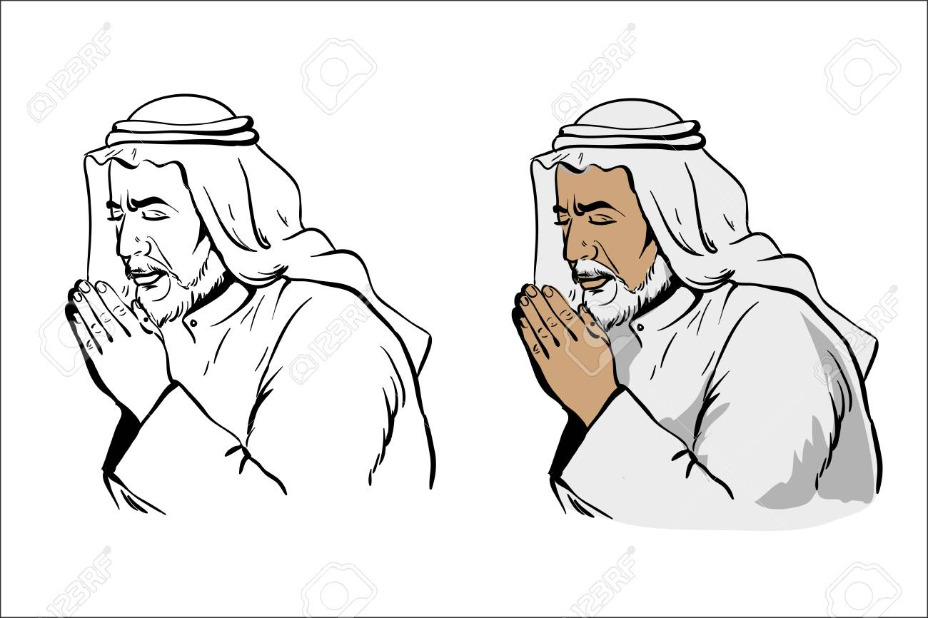 hight resolution of muslim old wise man praying hand drawn vector illustration in black and white variation and colored